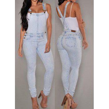 Stylish Women's Criss-Cross Bleach Wash Denim Overalls - BLUE L