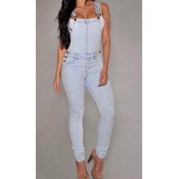 Stylish Women's Criss-Cross Bleach Wash Denim Overalls - L L
