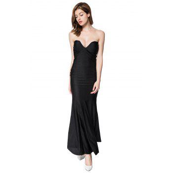 Alluring Strapless Sleeveless Slimming Solid Color Women's Dress - BLACK L