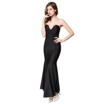 Alluring Strapless Sleeveless Slimming Solid Color Women's Dress - L L
