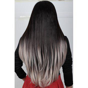 2 Color Ombre Fashion Long Natural Straight Centre Parting Charming Women's Capless Wig -  R