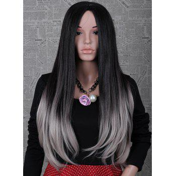 2 Color Ombre Fashion Long Natural Straight Centre Parting Charming Women's Capless Wig - R2-4503 R