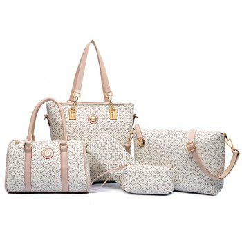 Geometric Print Tote Shoulder Bag 5Pc Set - WHITE WHITE