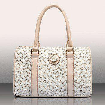 Geometric Print Tote Shoulder Bag 5Pc Set -  WHITE