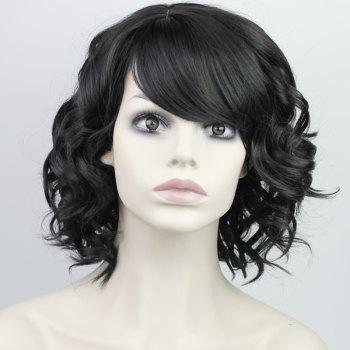 Fashion Synthetic Medium Curly Side Bang Ladylike Charming Fluffy Women's Capless Wig - BLACK BLACK