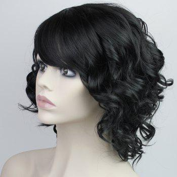 Fashion Synthetic Medium Curly Side Bang Ladylike Charming Fluffy Women's Capless Wig -  BLACK