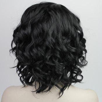 Mode synthétique capless perruque À MOYEN Curly Bang Side Ladylike charme Fluffy femmes - Noir