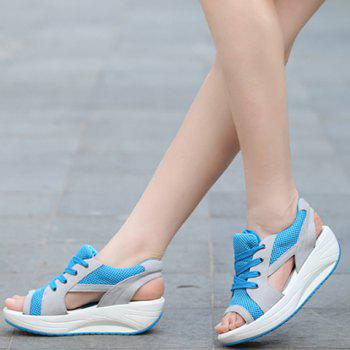 Stylish Color Block and Peep Toe Design Sandals For Women - AZURE 39