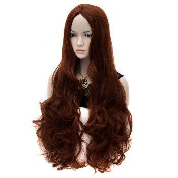 Charming Sexy Party Hair Style Centre Parting Fluffy Chestnut Synthetic Women's Long Curly Wig - DEEP BROWN