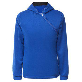 Trendy Long Sleeves Hooded Personality Inclined Zipper Design Slimming Solid Color Men's Cotton Blend Hoodies - BLUE BLUE