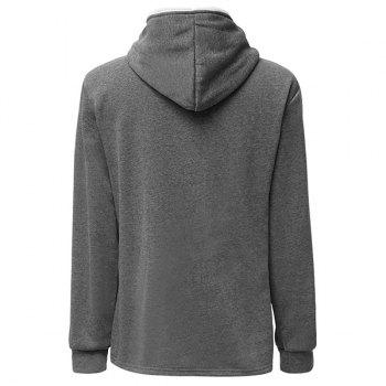 Trendy Long Sleeves Hooded Personality Inclined Zipper Design Slimming Solid Color Men's Cotton Blend Hoodies - XL XL
