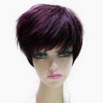 Natural Straight Top Quality Synthetic Hair Side Bang Mixed Color Casual Style Women's Short Wig - COLORMIX COLORMIX