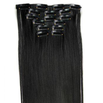 Stylish Heat Resistant Synthetic Clip-In Long Straight Women's Hair Extension Suit -   B