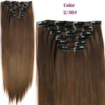 Stylish Heat Resistant Synthetic Clip-In Long Straight Women's Hair Extension Suit - 2/30#  /