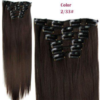 Stylish Heat Resistant Synthetic Clip-In Long Straight Women's Hair Extension Suit - 2/33#  /