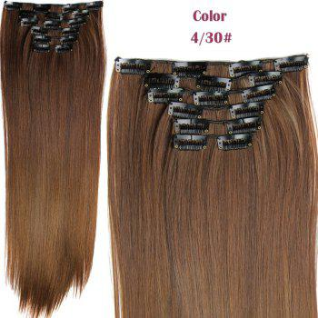 Stylish Heat Resistant Synthetic Clip-In Long Straight Women's Hair Extension Suit - 4/30#  /