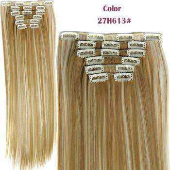 Stylish Heat Resistant Synthetic Clip-In Long Straight Women's Hair Extension Suit - 27H613  H