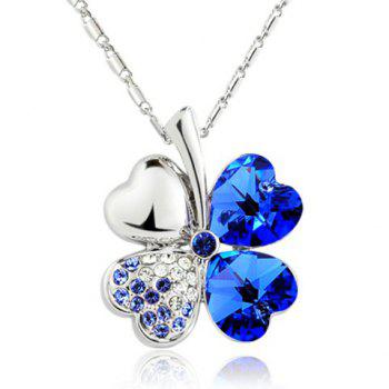Rhinestone Decorated Clover Pendant Necklace -  COLOR ASSORTED