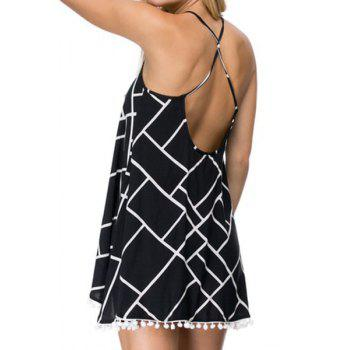 Stylish Spaghetti Strap Checked Print Women's Dress
