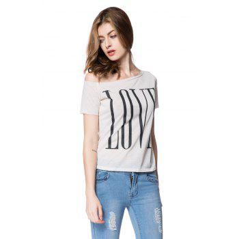 Stylish One-Shoulder Letter Print Short Sleeve Women's T-Shirt - L L