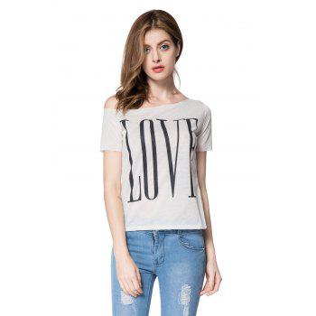 Stylish One-Shoulder Letter Print Short Sleeve Women's T-Shirt - WHITE M