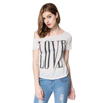 Stylish One-Shoulder Letter Print Short Sleeve Women's T-Shirt - M M