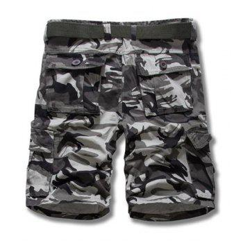 Camouflage Style Straight Leg Loose Fit Pockets Embellished Zipper Fly Men's Shorts - GRAY 38
