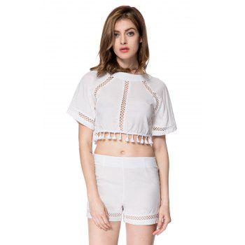 Stylish Half Sleeve Round Neck Backless Blouse + High-Waisted Shorts Women's Twinset