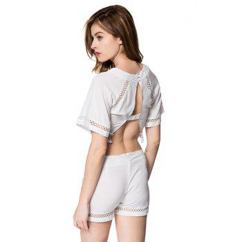 Stylish Half Sleeve Round Neck Backless Blouse + High-Waisted Shorts Women's Twinset - WHITE S
