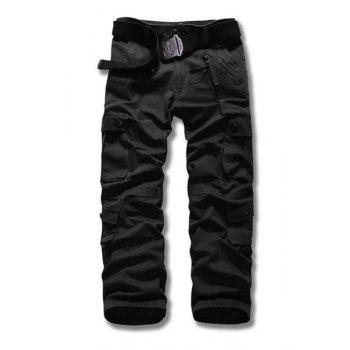Loose Fit Straight Leg Multi-Pocket Suture Design Zipper Fly Plus Size Men's Cargo Pants