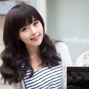 Fashion Synthetic Towheaded Long Wavy Full Bang Charming Ladylike Women's Capless Wig - BLACK BLACK