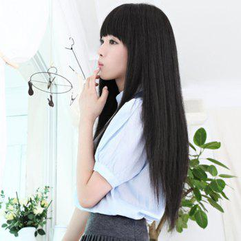 Fashion Synthetic Long Straight Layered Full Bang Ladylike Women's Capless Wig -  BLACK