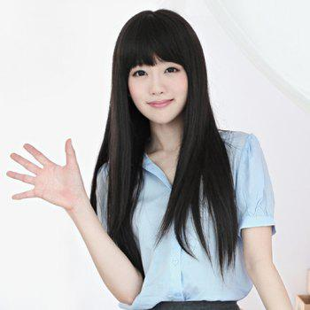 Fashion Synthetic Long Straight Layered Full Bang Ladylike Women's Capless Wig
