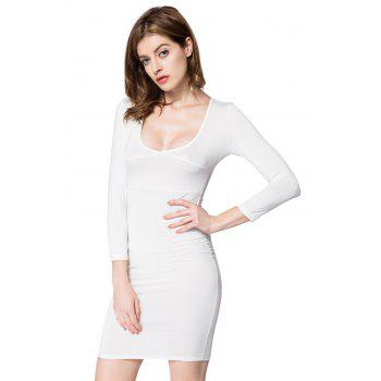 Sexy Plunging Neck Solid Color Long Sleeve Dress For Women - WHITE L