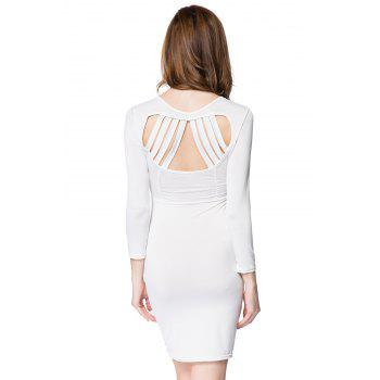 Sexy Plunging Neck Solid Color Long Sleeve Dress For Women - WHITE 2XL
