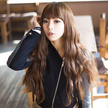 Trendy Synthetic Fluffy Long Loose Wave Full Bang Ladylike Women's Capless Wig -  DEEP BROWN