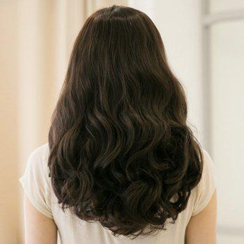 Stylish Synthetic Fluffy Long Wavy Centre Parting Ladylike Women's Capless Wig - DEEP BROWN