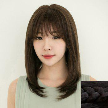 Fashion Synthetic Long Natural Straight Full Bang Ladylike Women's Capless Wig