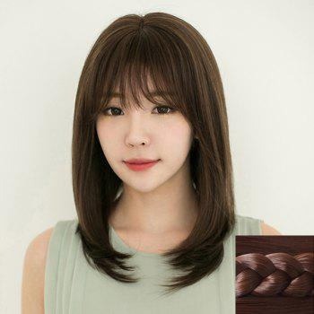 Fashion Synthetic Long Natural Straight Full Bang Ladylike Women's Capless Wig - DEEP BROWN DEEP BROWN