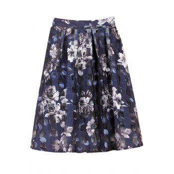 Fashionable Floral Print Plaid Skirt For Women - BLUE XL