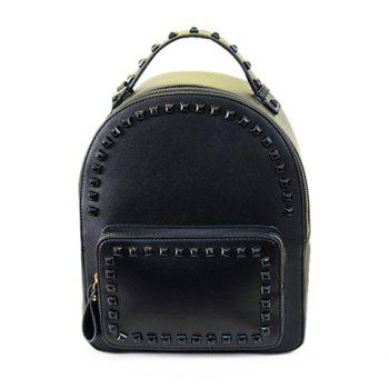 Fashionable Rivets and Solid Color Design Satchel For Women