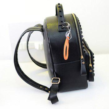 Fashionable Rivets and Solid Color Design Satchel For Women - BLACK