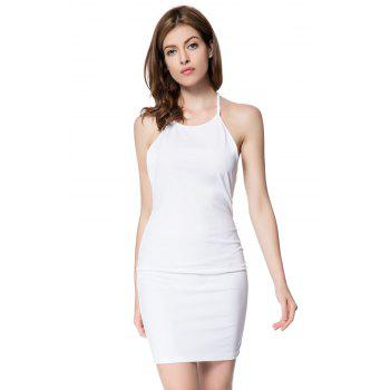 Sexy Scoop Neck Sleeveless Bodycon Backless Women's Dress - WHITE S