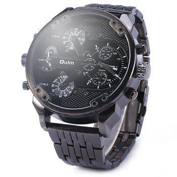 Oulm 3548 Big Dial Double Time Male Japan Quartz Watch with Stainless Steel Band
