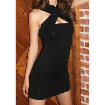 Sexy Sleeveless Bodycon Hollow Out Solid Color Women's Dress