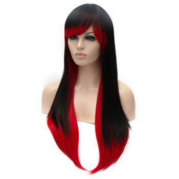 Black to Red Ombre Fashion Side Bang Lolita Long Synthetic Straight Capless Cosplay Women's Wig - RED/BLACK