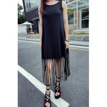 Stylish Scoop Collar Sleeveless Fringe Design Solid Color Women's Dress