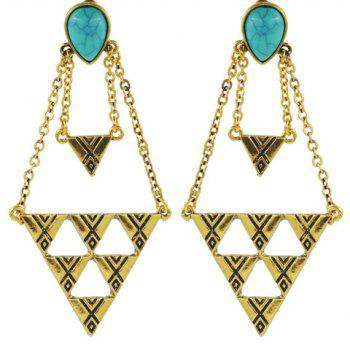 Pair of Faux Turquoise Triangle Earrings