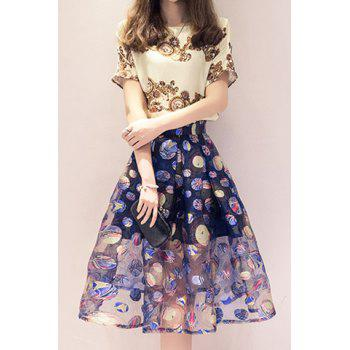 Buy Sweet Short Sleeve Round Neck T-Shirt + High-Waisted Organza Skirt Women's Twinset COLORMIX