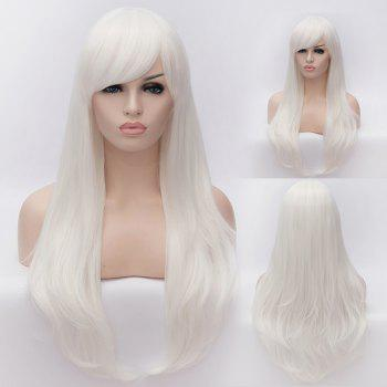White Long Lolita Style Heat Resistant Synthetic Trendy Side Bang Wave Capless Cosplay Wig